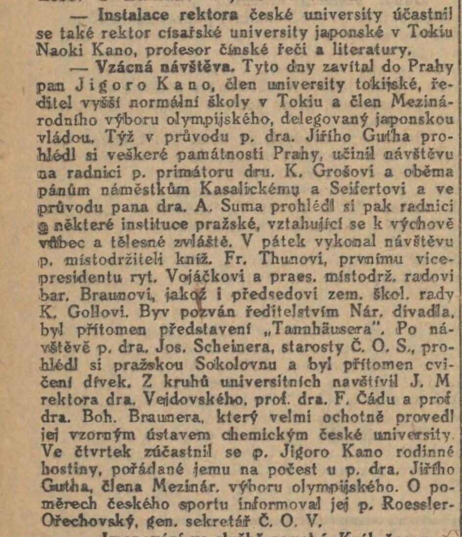 Jigoro Kano and his 3 visits Prague ( November 1912, September 1920, September 1936 ) 19121109NL_KanoVPraze