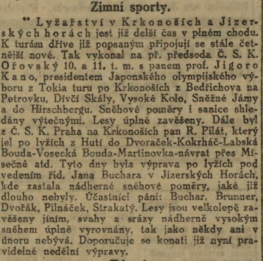 Jigoro Kano and his 3 visits Prague ( November 1912, September 1920, September 1936 ) 19121125NL_KanoVKrkonosich