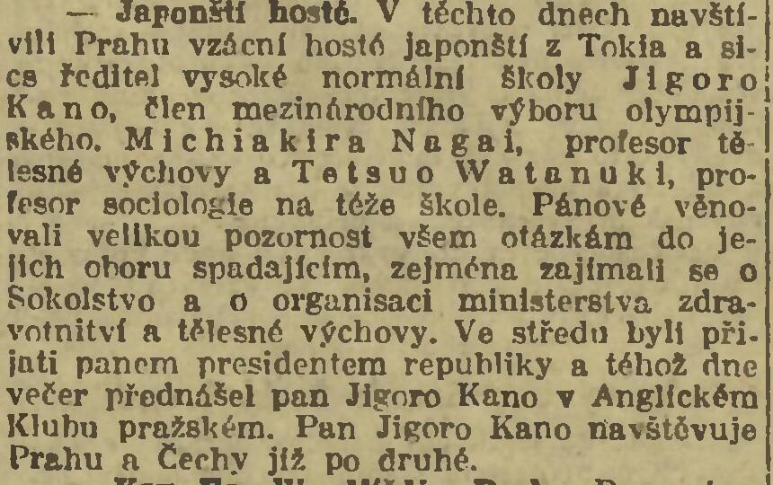 Jigoro Kano and his 3 visits Prague ( November 1912, September 1920, September 1936 ) 19200920NL_KanoVPraze