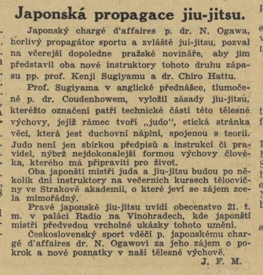 Jigoro Kano and his 3 visits Prague ( November 1912, September 1920, September 1936 ) 19351016NL_SugijamovoPrednaska