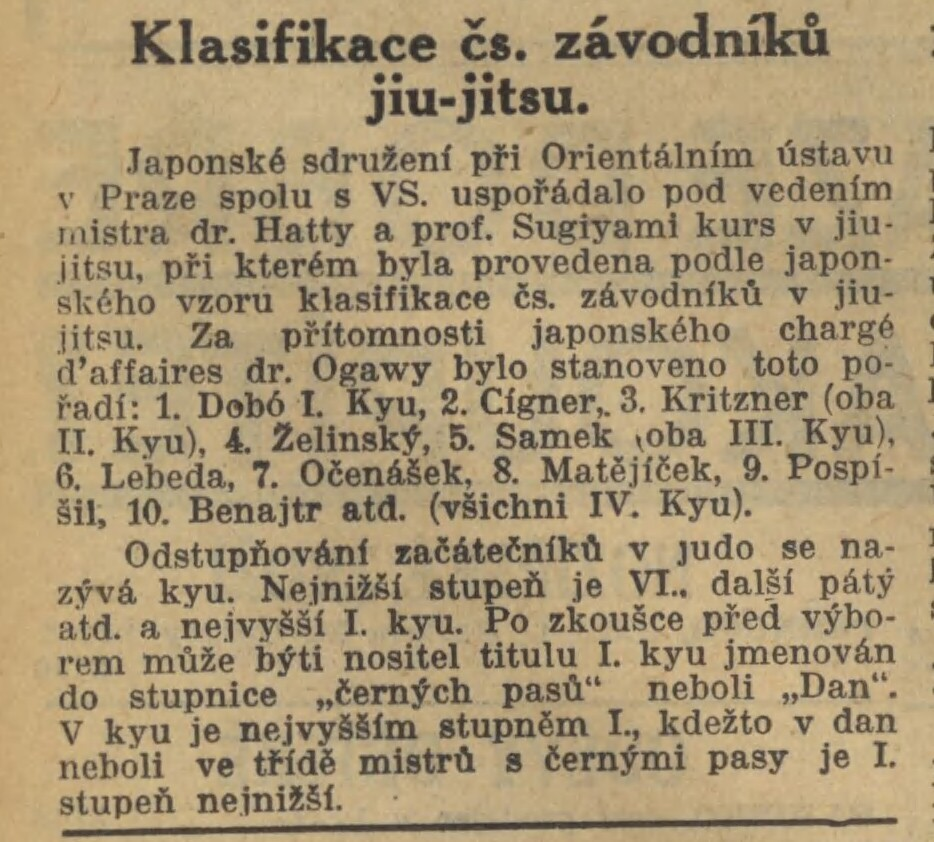 Jigoro Kano and his 3 visits Prague ( November 1912, September 1920, September 1936 ) 19351030NL_OZkouskachNaKyu