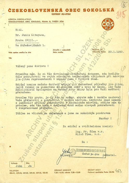 letter from czechoslovak judo/jujutsu pioneers (Mr.Šíma and Mr.Tůma ) to Mr.Kitayama about request for next cooperation in judo/jujutsu